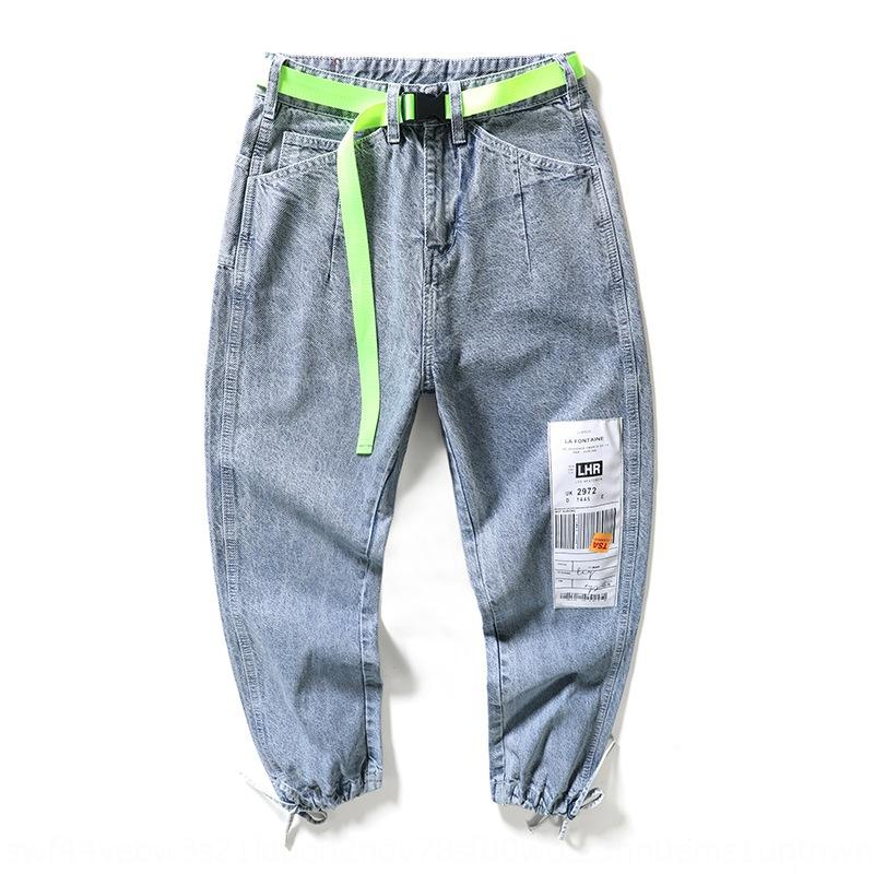 Eeu6T Wide-leg pendant men's straight loose fashion br spring and autumn light color beam feet nine points Harajuku style Pendant jeans and
