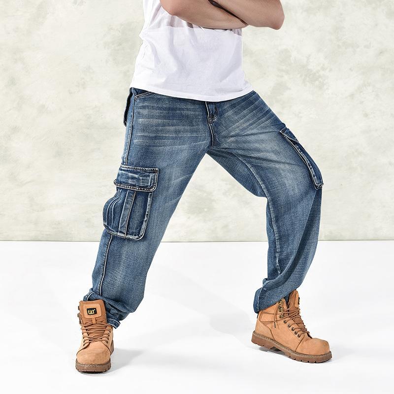 Мужские джинсы Япония Стиль бренда Мужские прямые джинсовые брюки грузовые брюки Biker Men Baggy свободный синий с боковыми карманами плюс размер 40 46