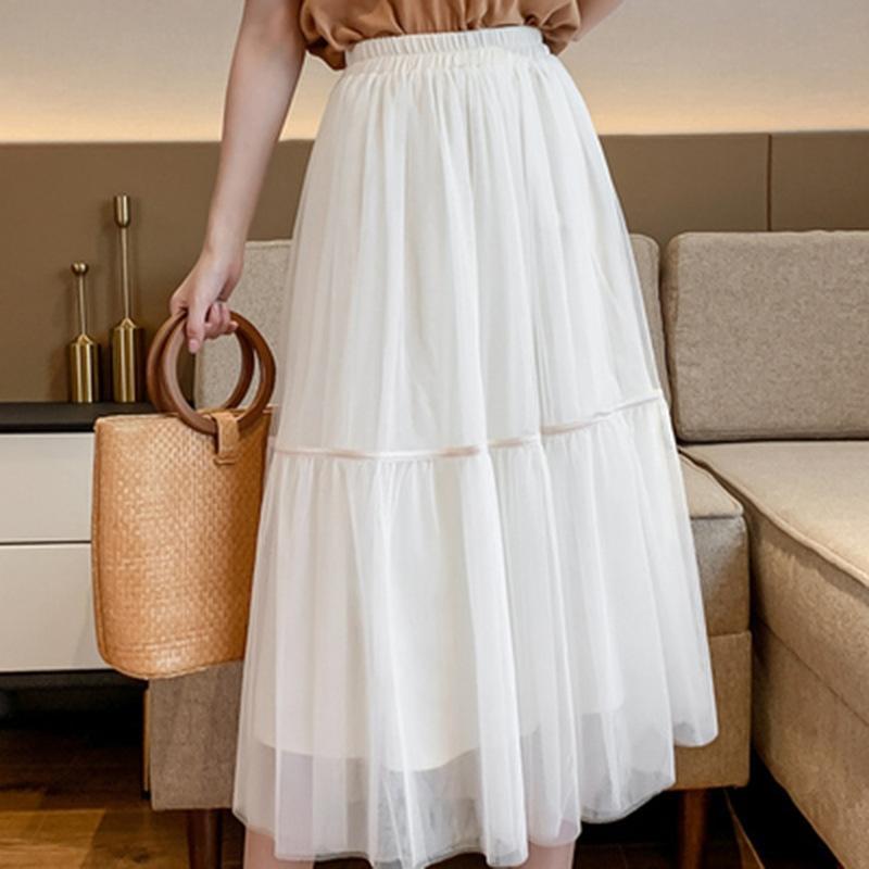 Costura de malla de encaje falda larga larga para las mujeres 2020 nuevo estilo occidental de hadas dulce vestido de longitud media cordón grande Corea del estilo de la falda p4ctn p4ctn