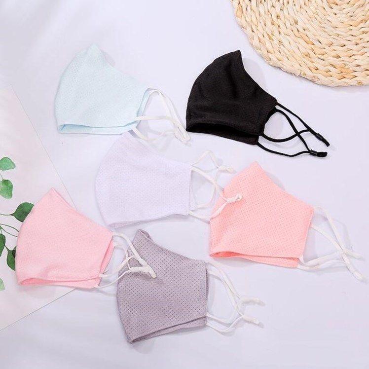 Ice Silk Mask Mode d'été respirant réutilisabilité Washed Masques Lady été empêcher la poussière de coton adulte Masque WY762Q
