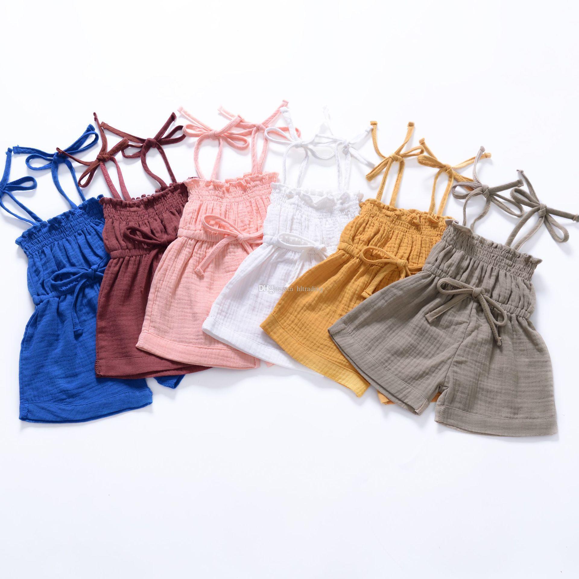 Kids Designer Clothes Girls Boys Solid Color Sling Romper Infant Toddler Suspender Jumpsuits 2019 Summer Baby Clothing
