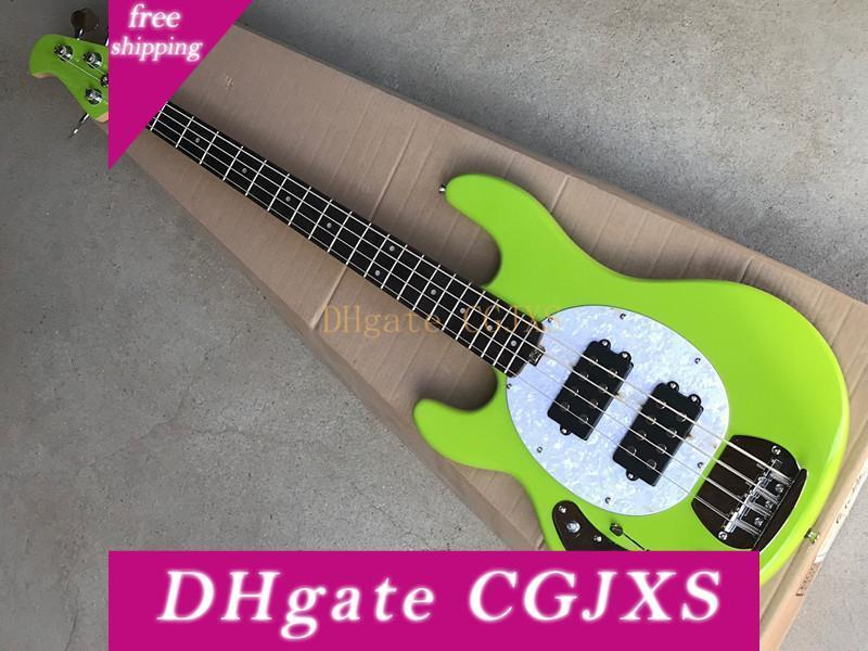 4-string Green Electric Bass Guitar with Maple Fingerboard,White Pearl Pickguard,Active pickups,Chrome Hardwares,Offer Customized