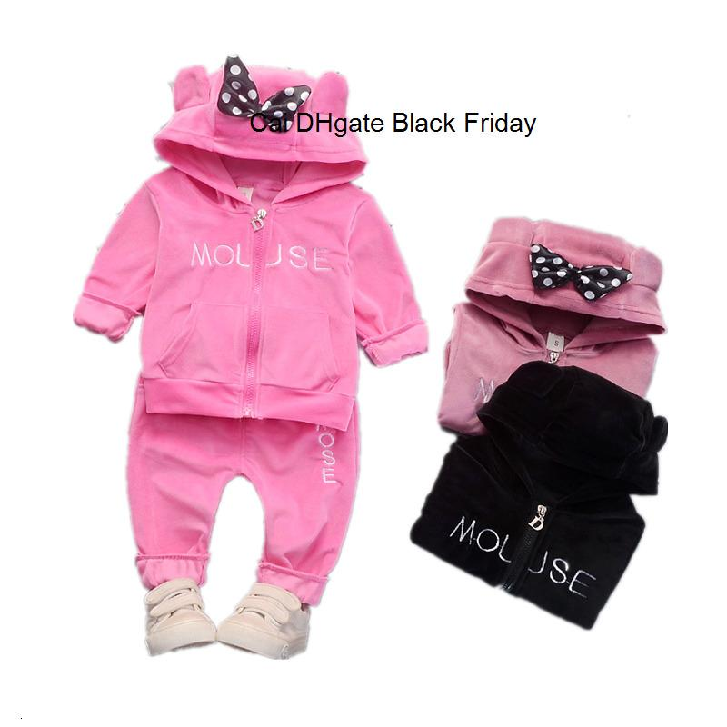 New Baby Boys Girls Clothing Set Kids Casual Bow Velvet Hoodies Coat Pants 2Pcs Outfits Spring Autumn Infant Sports Suit Clothes