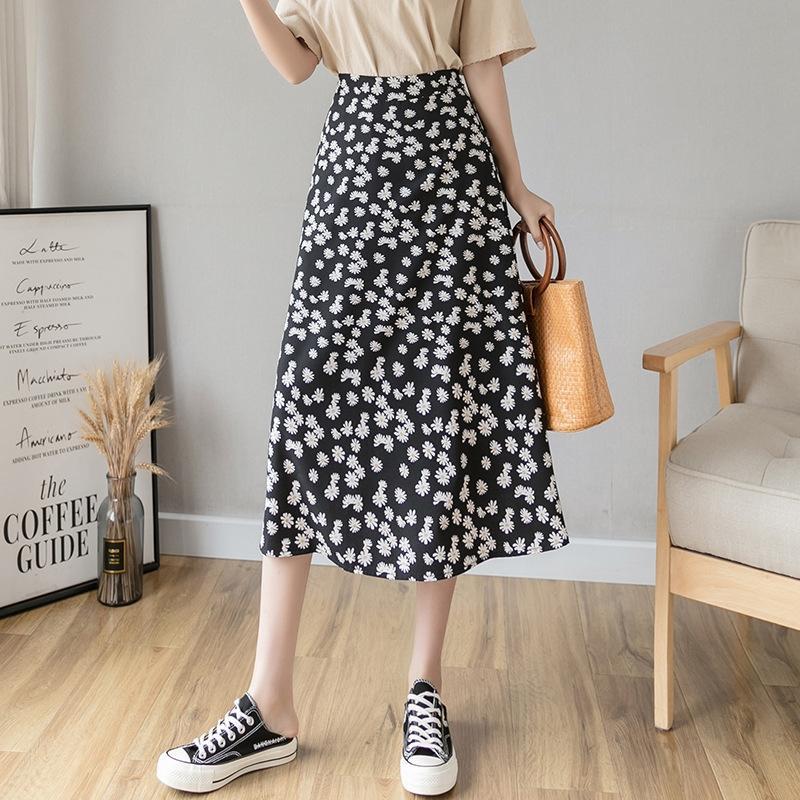 Estate Nuovo ins Ouyang Nana stesso stile margherita A- GONNA A- Gonna linea della stampa del vestito linea Daisy A- studente dimagrante invincibile