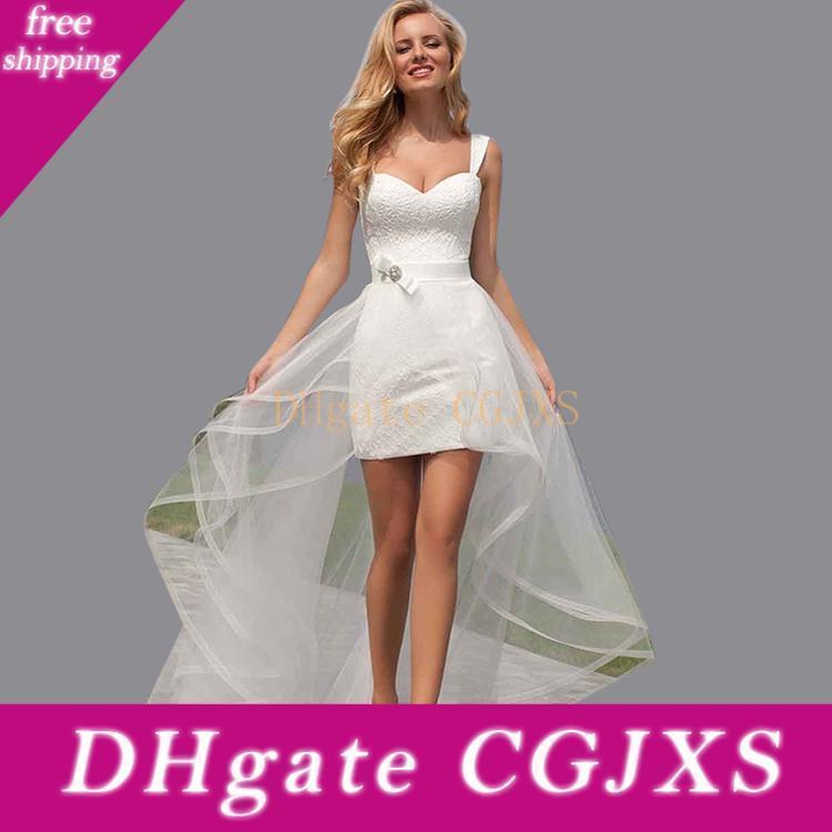 جديد 2019 ببساطة الدانتيل الأبيض شاطئ فساتين زفاف السباغيتي أثواب الزفاف مخصص الركبة طول اللباس العاج