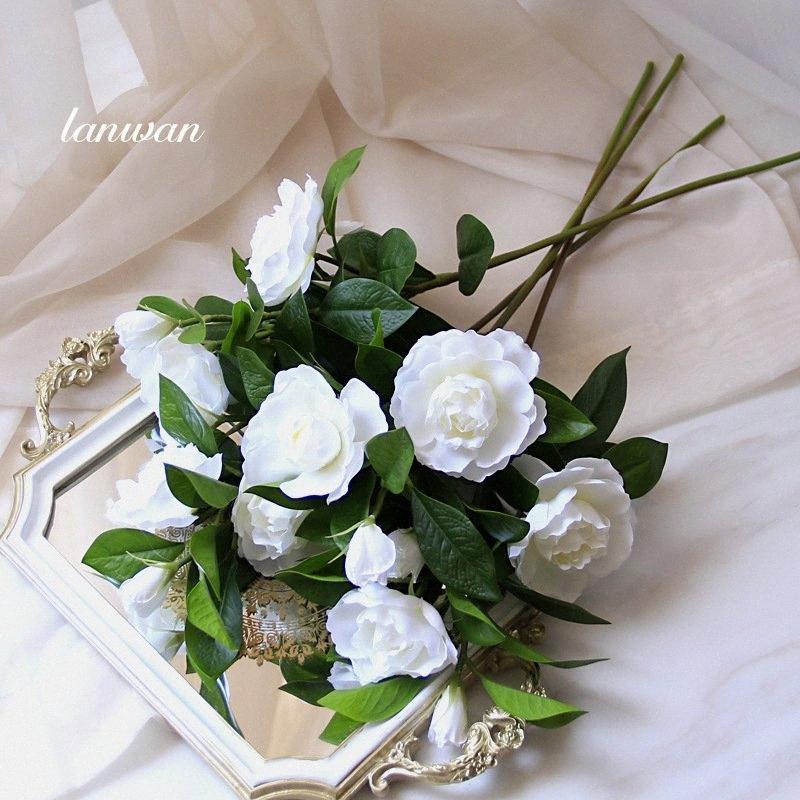 Dikmeler Photograp M1Dp # Atış Tek Yapay Çiçekler Gardenia Tablo Salon Yatak Odası Ev Dekorasyon Buket Yapay Çiçekler