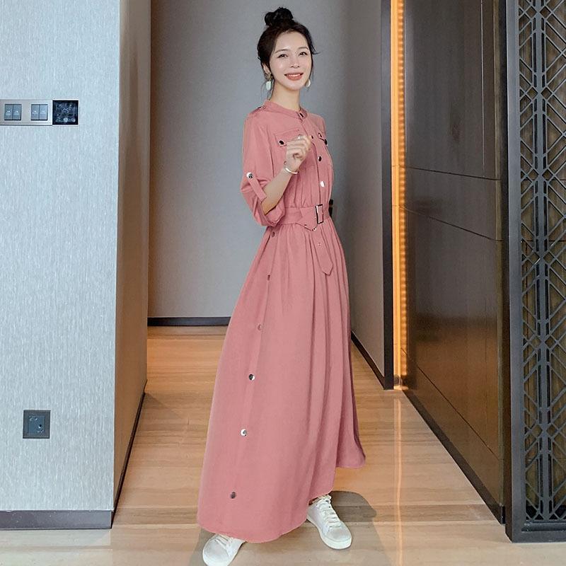 Şık elbise zayıflama ocogH Kadın uzun sarı uzun etek elbise 2020 Yaz yeni Kore tarzı moda mizaç bel