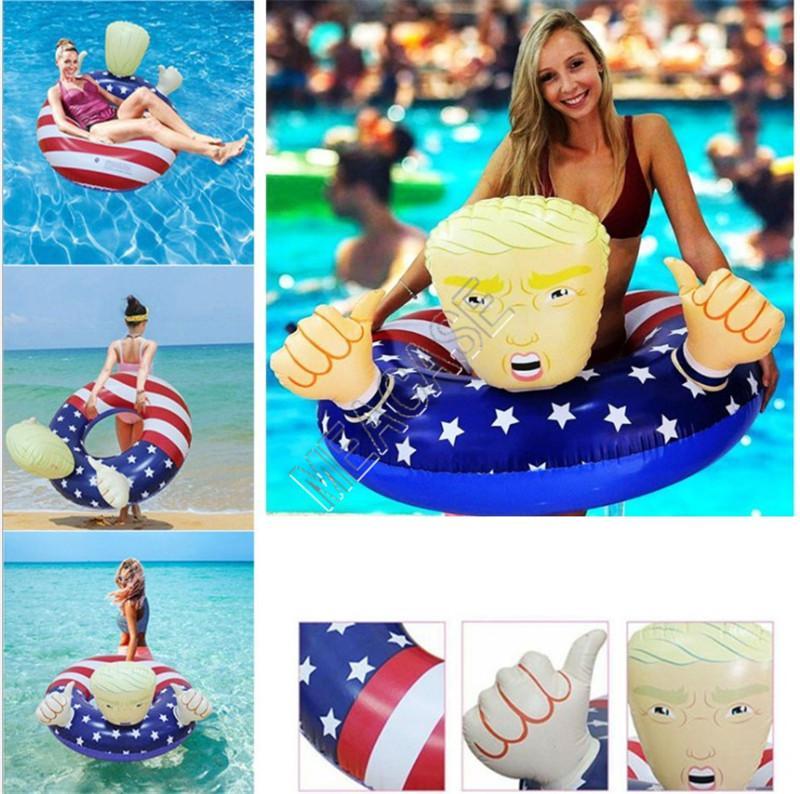 Dessin animé Trump Bague Natation Bague gonflable Flotte Giant Epaisseur Cercle Drapeau Bague de bain Flotte pour unisexe Summer Pool Play Water Party Jouets D81712