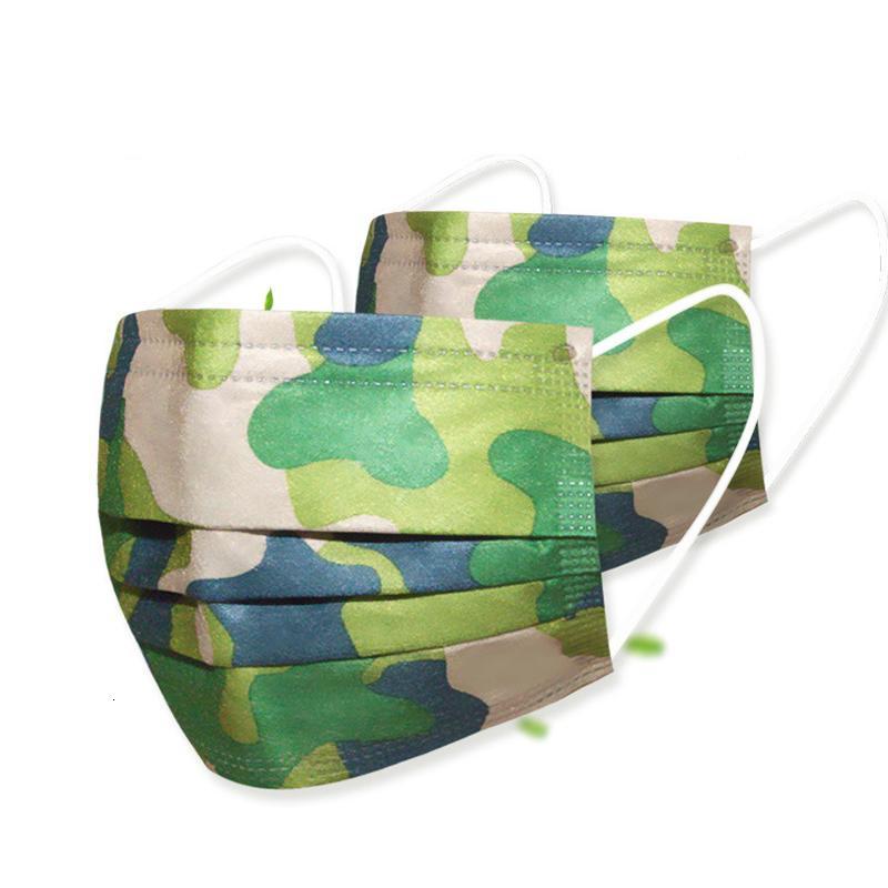 Camuflaje unisex de impresión que no tejida máscara desechable Diseñador 3Ply de protección del oído la cara del lazo Boca Máscara 3 capas protectoras de polvo máscaras del partido PM2.5