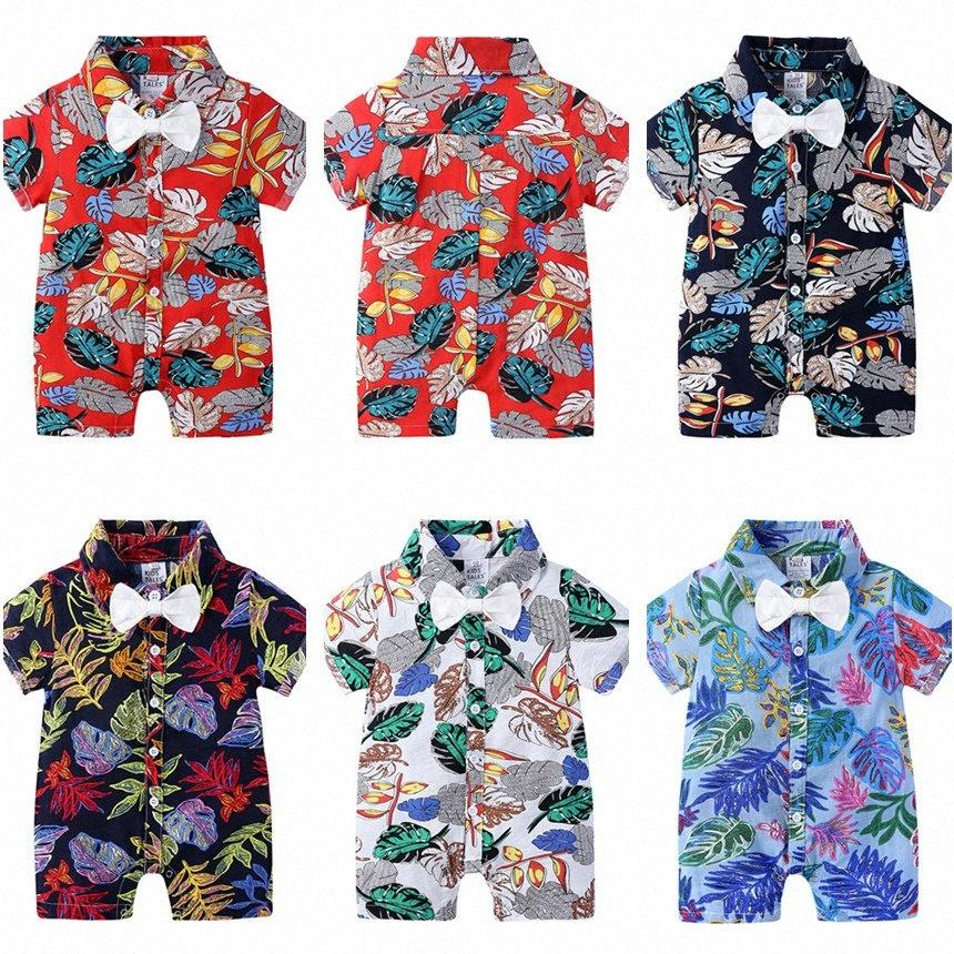 2020 2020 Kinder-Designerkleidung für Jungen Strampler Fliege Blumendruck Childrens Baby-Overall-Baby-Sommer-Pyjamas Kleidung Hawaiian Style miwo #