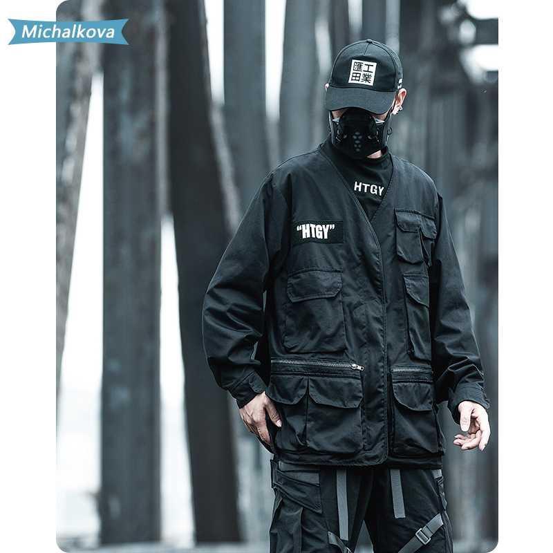 Bolsillo V-cuello de la chaqueta delgada capa suelta táctico Hip hop Harajuku rompevientos Techwear mujeres / hombres de la ropa Michalkova