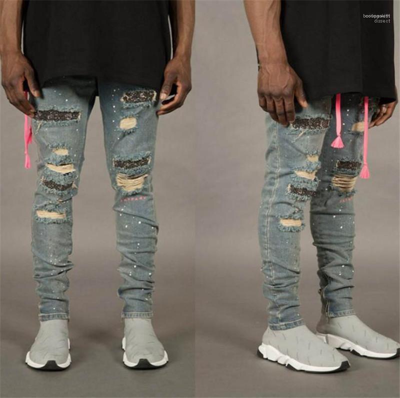 Gewaschen Sommer-beiläufige mittlere Taillen-Jeans Herren Kleidung Herren Pailletten Loch Burrs Bleistift-Hosen Art und Weise dünne elastische
