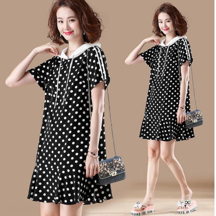 2020 Sommer koreanischer Stil Kleid Kurzarm mit Kapuze Punkt-Polka neue lose mittlere Länge großes Kleid nqg2E