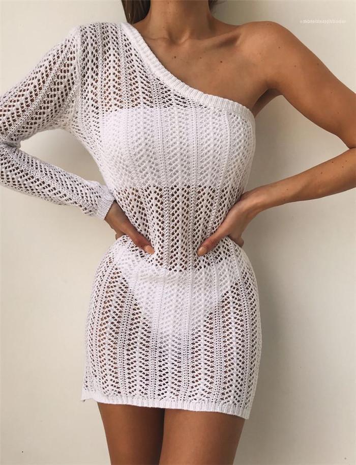 Yaz Tasarımcı Bir Omuz Plaj Dantel Kirli Hava Dişiler Beyaz Kalem Modelleri Kadın Seksi Hollow Out Elbise