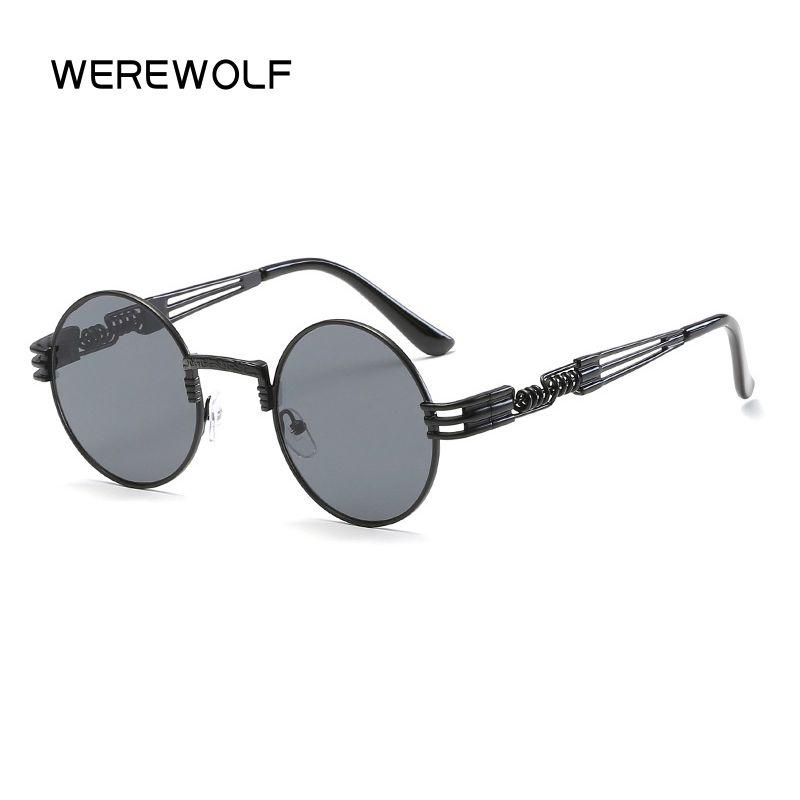 Retro Round Steampunk Sunglasses UV400 Protection Lunette Metal Spring Sun Glasses For Men Cool Circle Mirror Gozluk