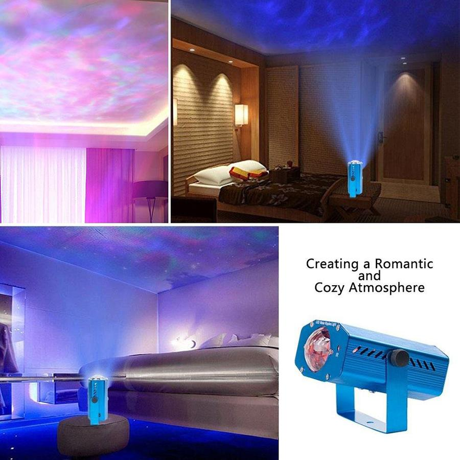 Luz aniversário projetor laser Freeshipping 9W LED RGB Water Wave Ripple Effect Luz de Palco Lâmpada do Natal Disco DJ do partido do evento Mostrar