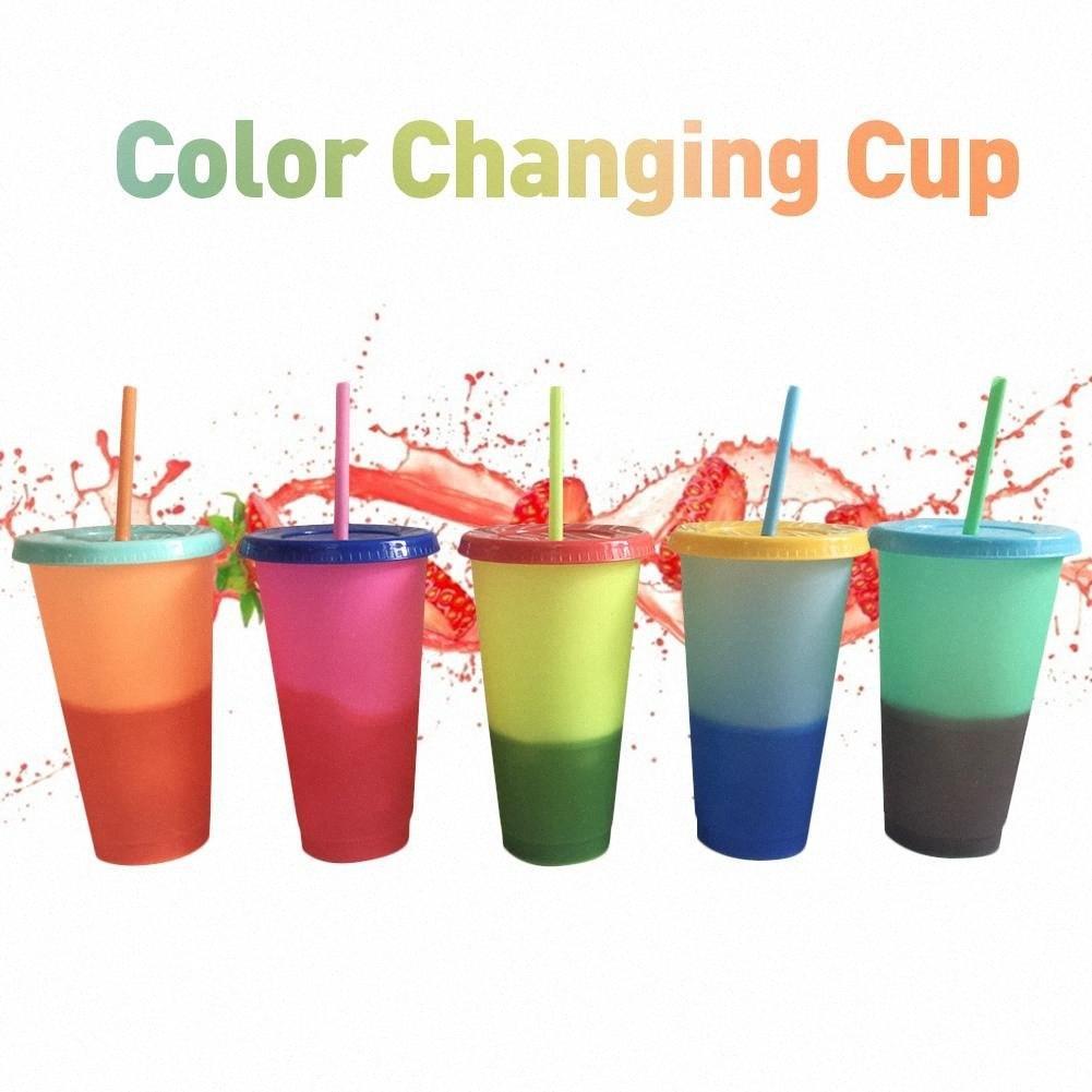 Temperatura de plástico Copas de Cambio de Color colorido del color de agua fría Cambio de botellas taza de la taza de café del agua con la paja Conjunto bgIT #