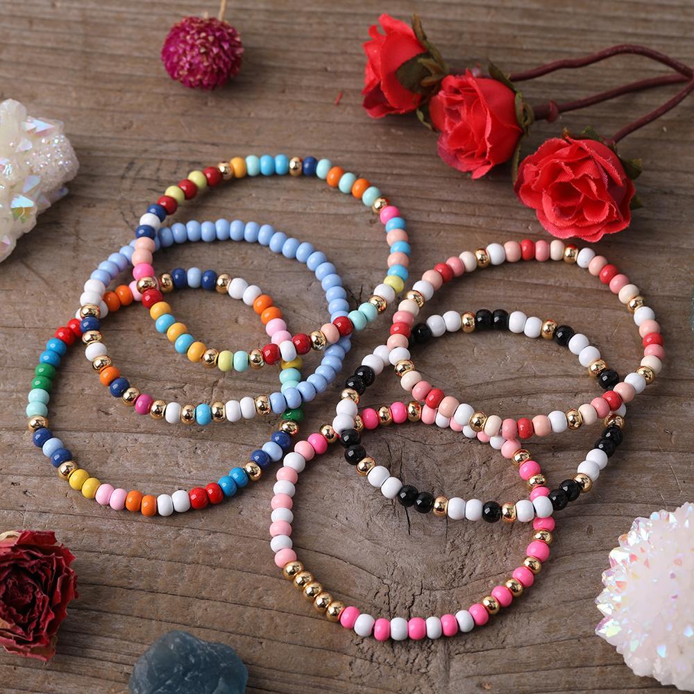 5pcs arc-en-couleur porcelaine Perles ronde élastique Bracelet extensible Bohème femmes petites perles en céramique à la main Bijoux Bracelet