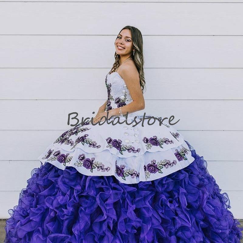 멕시코 스타일 성인식 드레스 퍼플 자수 오간자 프릴 아플리케 연인 볼 가운 무도회 댄스 파티 드레스 2,020 달콤한 16 드레스