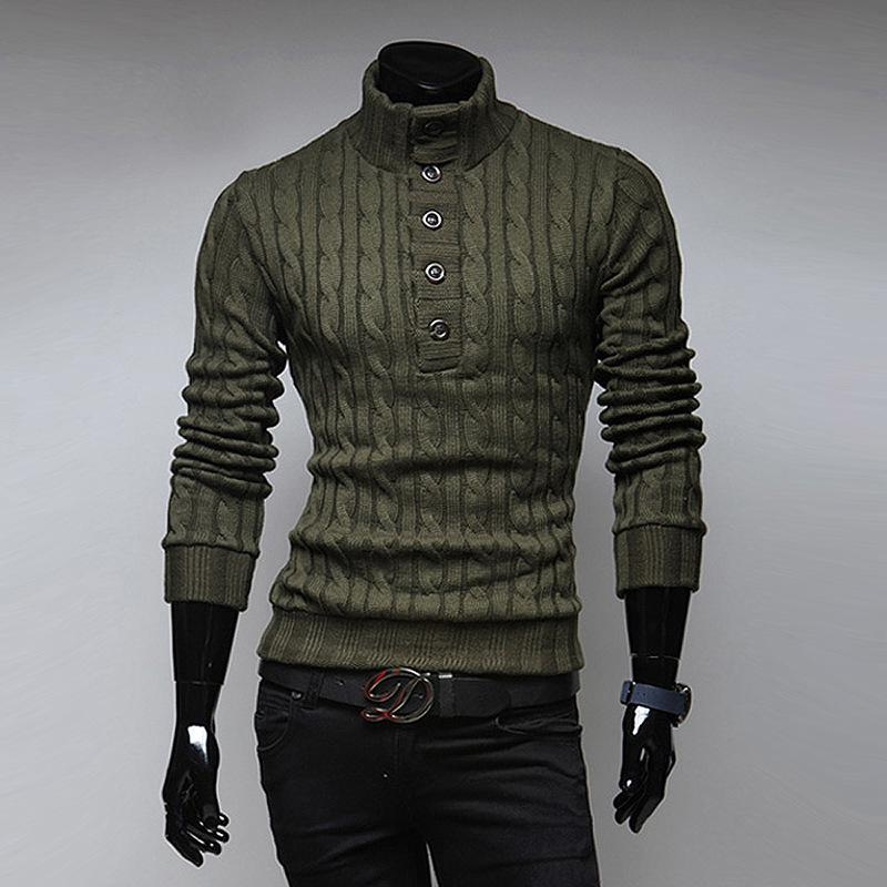 Top Selling New Spring Fashion Mens Turtleneck Sweater Solid Color Slim Buckle Korean Sweater Men Pullover Fast Shipping
