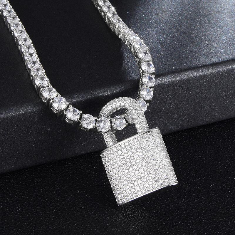Хип-хоп Bling Lock Cleaned Bling Cubic Zircon Ожерелье Кулон для мужчин Женщины Ювелирные Изделия Очарование Теннисная цепь