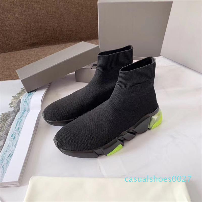 Tasarımcı Ayakkabı grafiti çorap Hız Sneaker Lüks Kayma-on Örme Eğitmenler BOX C27 ile Ayakkabı Erkekler Kadınlar Stretch Mesh Hız Çorap Sneaker Running