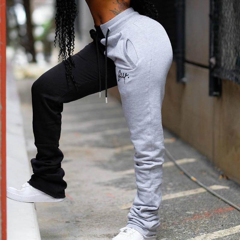 NCLAGEN Farbblock Stickerei Stacked Jogginghose für Frauen 2020 Patchwork Mode Jogger Frau Hosen Frauen Fitness Sweat Pant