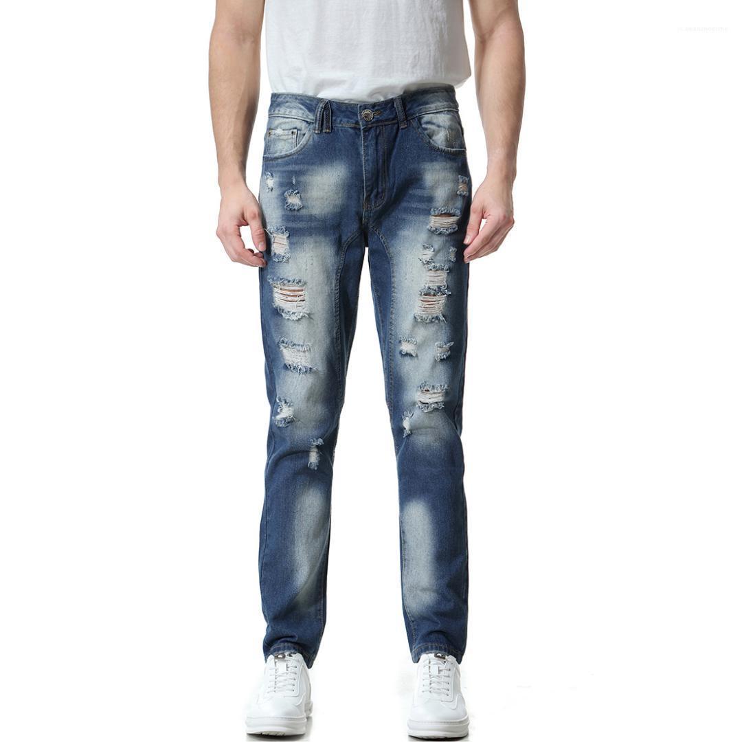 Pantalons Crayon Homme Vêtements 2020 Hommes Jeans de luxe de Washed Pantalons Distrressed trou Demin Slim Skinney