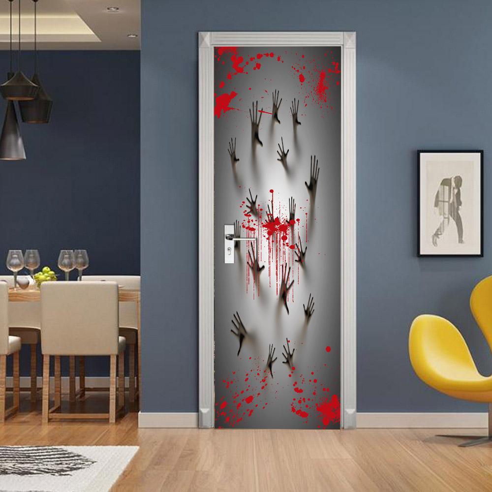 Кровь Handprint двери стикер Halloween Party украшения Horror Hand Wallpaper 3D клей Deere Плакат двери Декаль Haunted House