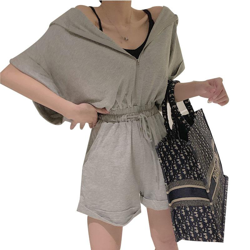 Manica lunga allentata estate Tuta Tuta da donna pulsante casual camicia pagliaccetti Boho Beach tuta del bicchierino della abiti AA064 T200808