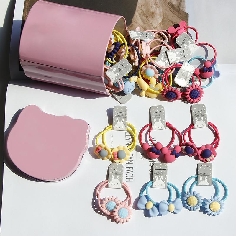 40PCS / Lot Kasten verpackt Niedliche Blumen-Bogen-Karikatur-Mädchen-elastische Haar-Bänder für Kinder Geschenk-Stirnband-Haar-Seil-Gummiband-Haar-Zusätze LJ200903