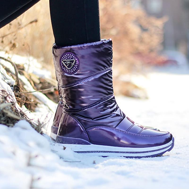 Женщины снега сапоги зима платформы водонепроницаемый хлопок сапоги лакированной кожи Теплое Rubber Противоскользящие Женщины Женская обувь женщина Botas