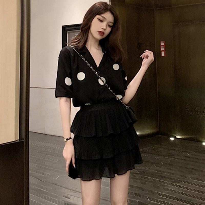 yuwfa 2020 Sommer der neue koreanische Art Polka-Dot-Volants Shirt + zweiteiliger weiblichen königlichen Schwester Fane Kuchen Rock Kuchen Rock Satz Satz
