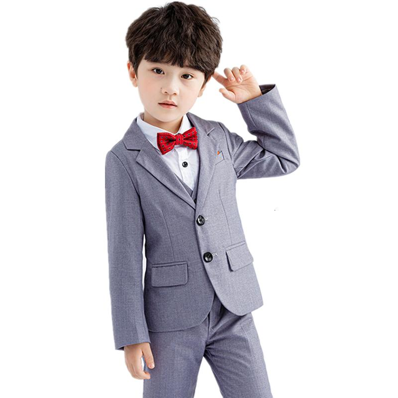 Boys Formal Solid Suits Kids Boys Slim Blazer Vest Trousers 3pcs Outfits Children Performance Wedding Costume Gentleman Clothes