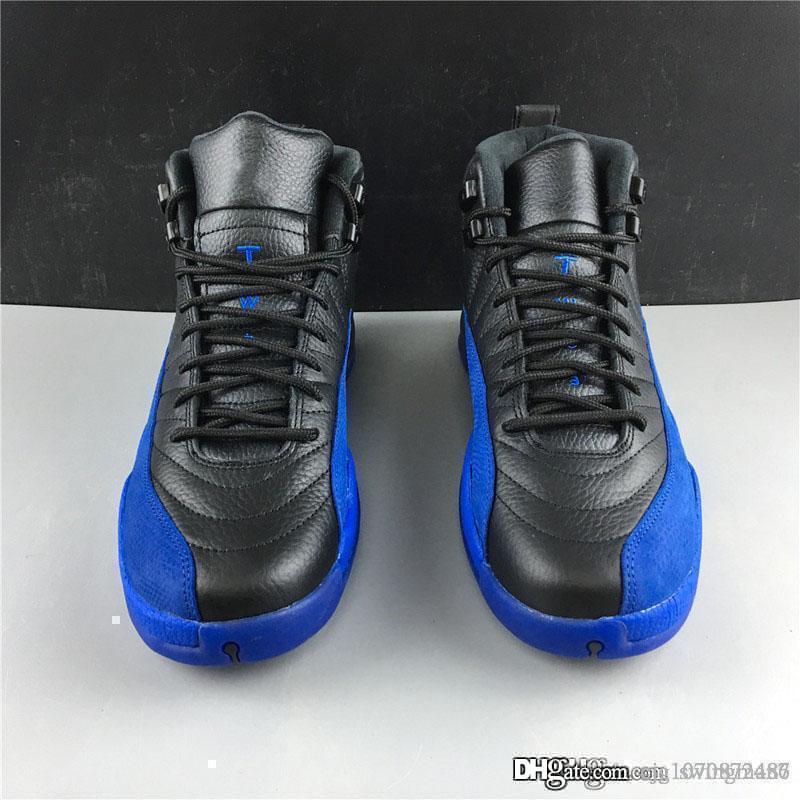2019 En Yeni Otantik 12 Oyun Kraliyet Retro Erkekler Basketbol Ayakkabı Siyah Mavi Sneakers Gerçek Karbon Elyaf Spor Ayakkabı kutusu 130690-014