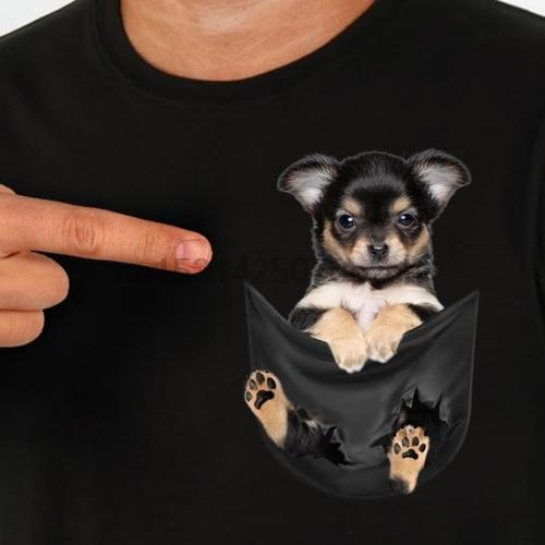 Chihuahua dentro do bolso preto T Shirt Dog Lovers Preto Cotton Men S-6XL Hotcartoon T Shirt Men Unisex New Fashion