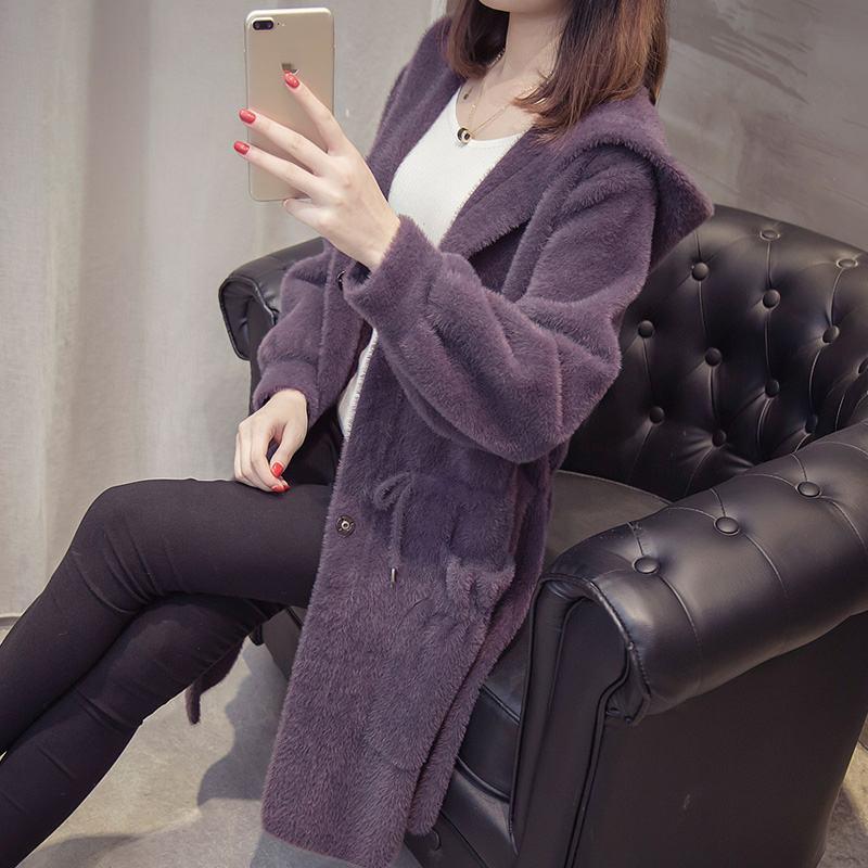 Frauen 2020 Herbst-Winter-Imitation Mink Kaschmir gestrickte Cardigans neuen losen Pullover Mäntel weiblich mit Kapuze Freizeit Ober T135 T200817