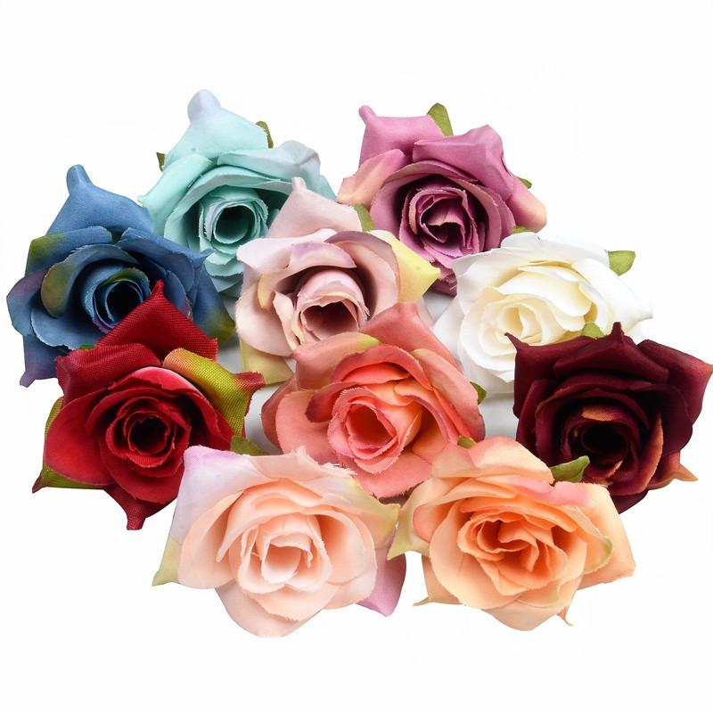4 centimetri Rosa di seta fiore di 50pcs / lot falso artificiale fiore di seta testa della Rosa casa della festa nuziale della Rosa della decorazione Fiore DHA111
