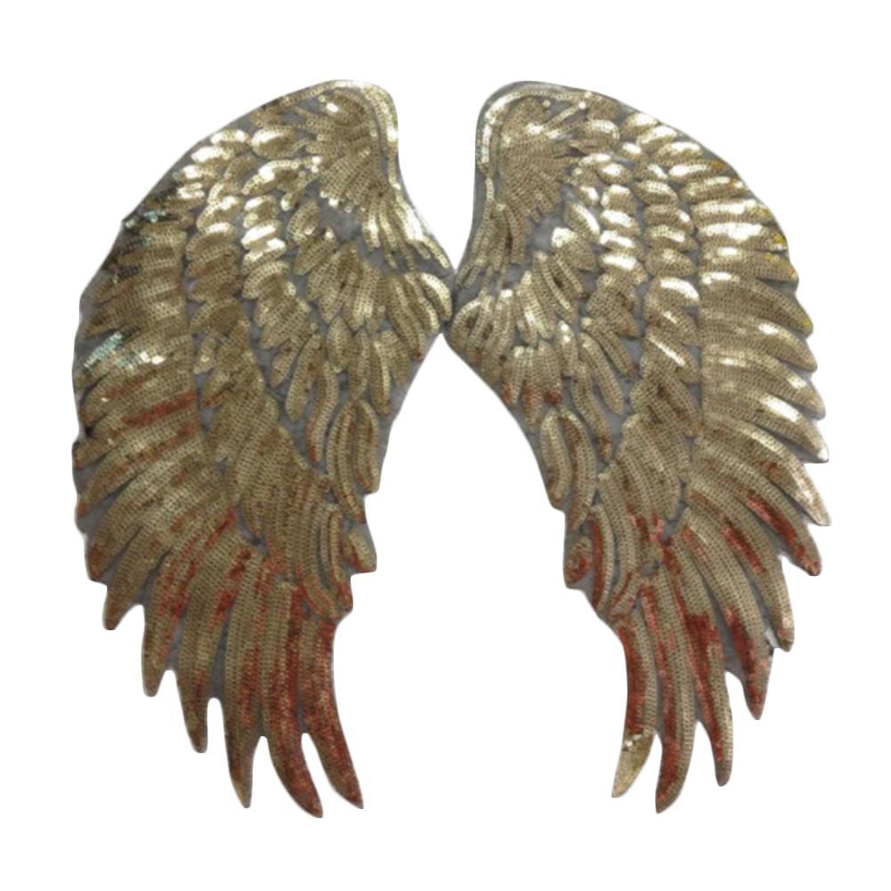 1Pair Декор аппликация Motif Крылья ангела Блестки Iron-On Вышитые Patch