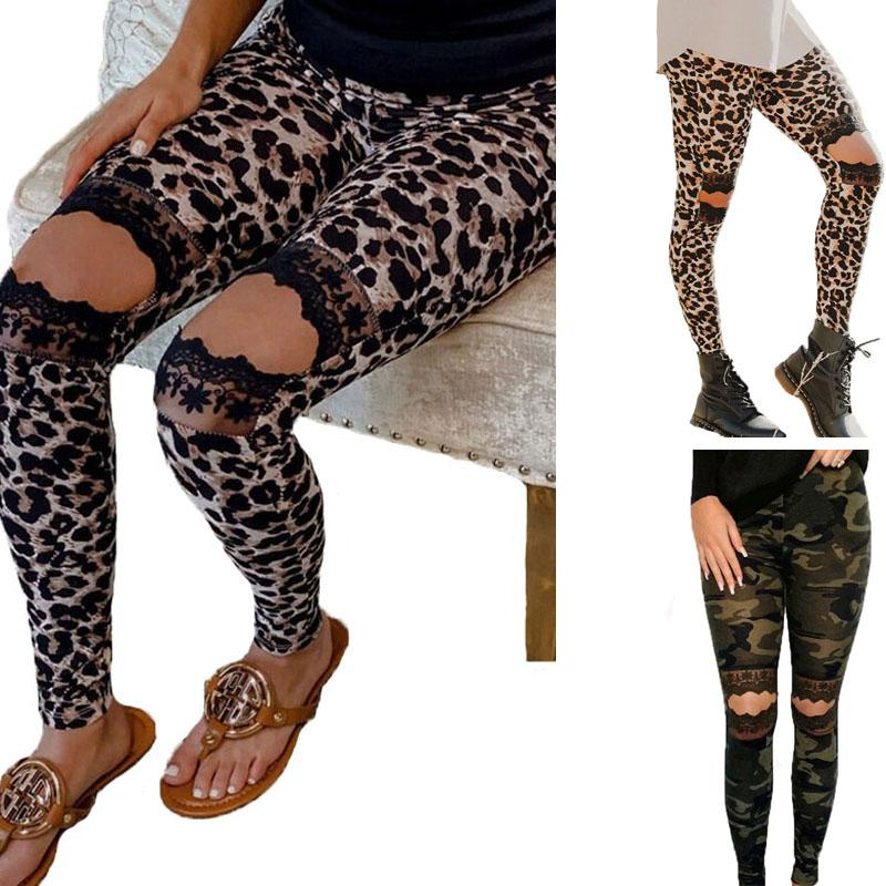 Moda Deportes polainas de las mujeres del patrón de leopardo pantalones de yoga Legging del cordón que adelgaza la aptitud del entrenamiento niñas agujero