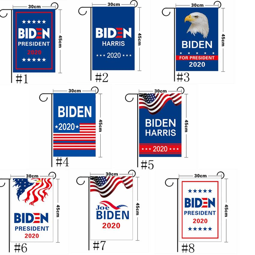 ترامب العلم 30 * 45CM الرئيس حديقة أعلام حافظ على الوجهين أمريكا العظمى لافتات واحدة الانتخابات الامريكية الوطني الديكور بايدن راية GGA3686-5