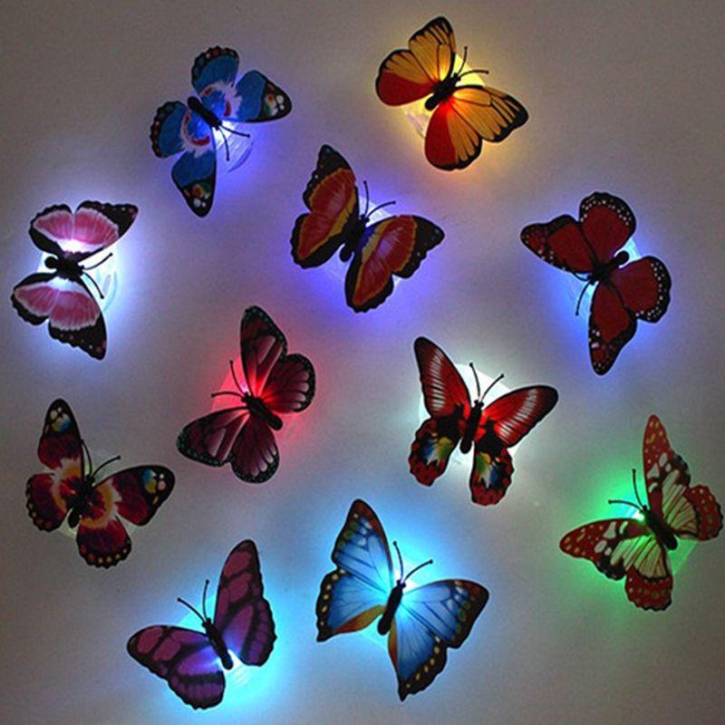 5pcs! Romantique nouveauté Glowing lampe papillon Led bas Sticker Veilleuse pour la chambre des enfants décoratifs lumière fluorescente