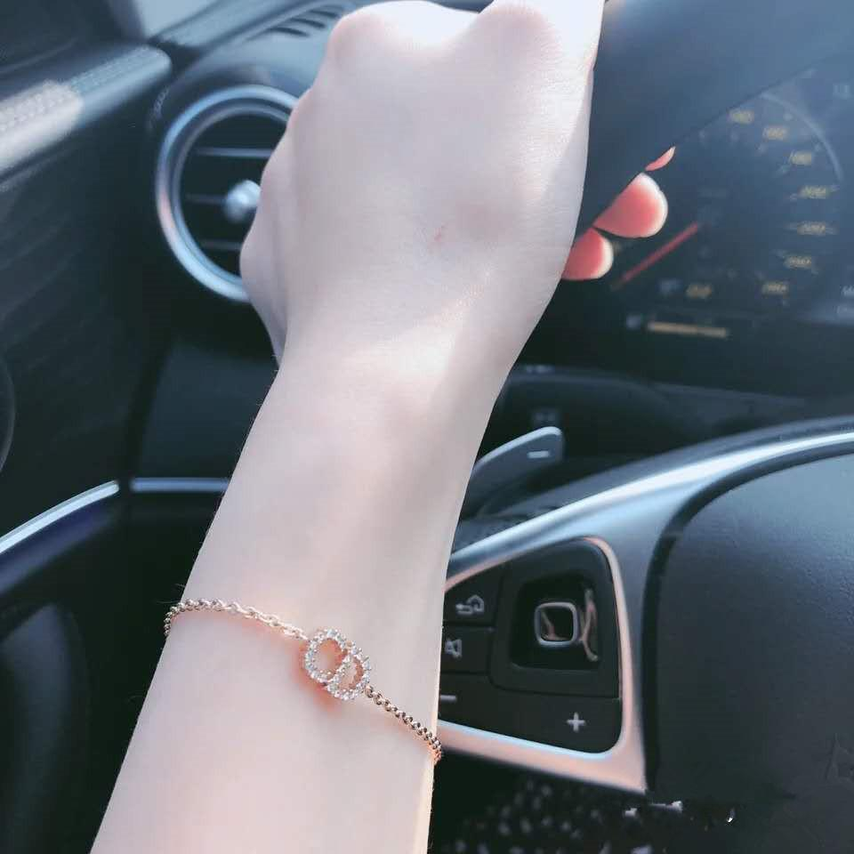 المنسوجة braceletD الرسائل CD كامل الماس الأزياء كل مباراة سوار المرأة عالية النسخة المجوهرات
