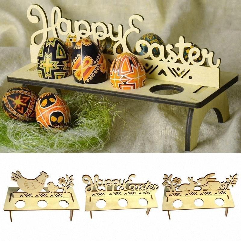 DIY de madeira Ovo de Páscoa da cremalheira da festa de aniversário baratos ornamento do Windows Páscoa Decoração Para Casa Loja Pintainho Egg Tray Handmade Decor Supplie AwTK #