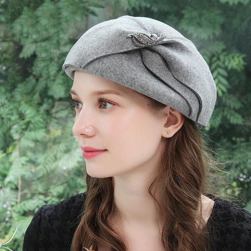 Frauen Warm Wollfilz Barett-Hut-Herbst-Winter-elegante Partei koreanische Cap Dame Qualitäts-Art- und Thick einfache Hüte