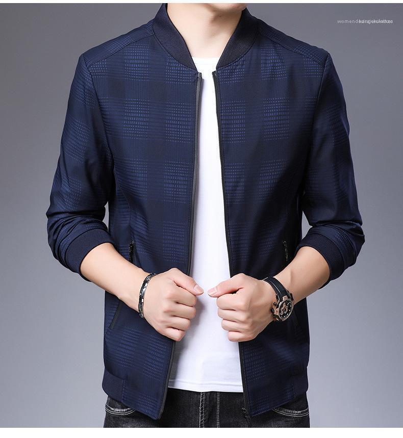 Long Sleeve Zipper casuale Outwear solido di colore a quadri Maschio cappotti Plus Size Mens Jacket Fashion Designer
