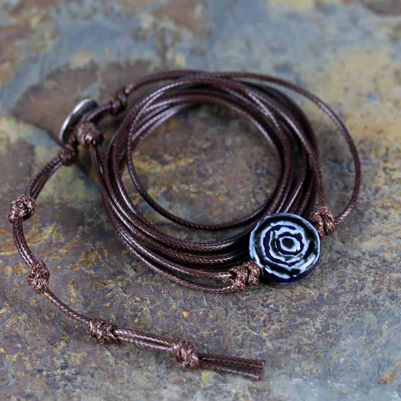 Синий старинных Керамический шарик шарма Wrap браслет воск ручной веревку браслет индивидуальный Boho браслет подарка ювелирных изделий перевозка груза падения
