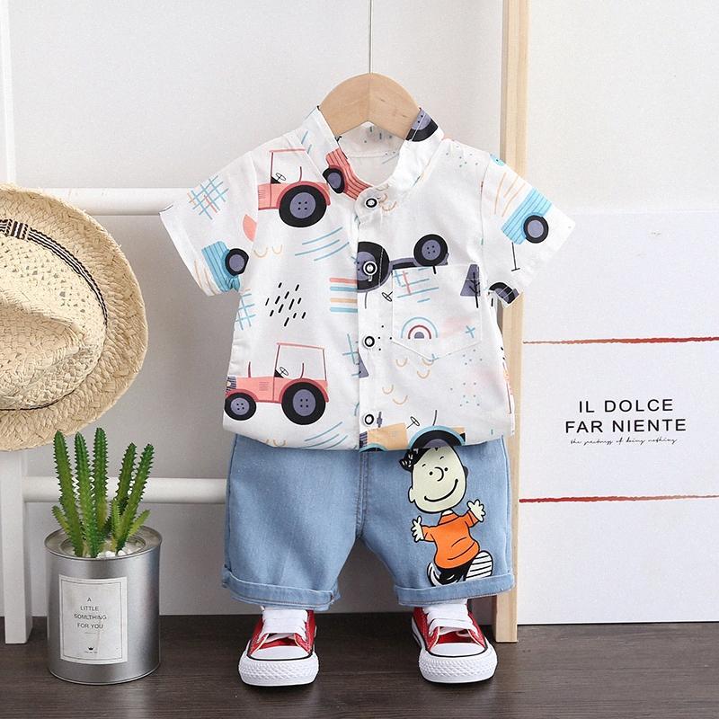 Terno de verão do bebê do bebé Roupa Set para meninos roupa ocasional Car Set Impresso Top Shorts infantil ternos do esporte roupa dos miúdos euou #