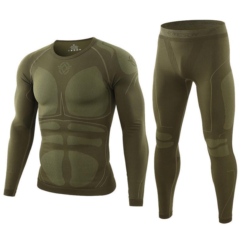 Теплая осень зима с длинными рукавами Открытый термобелье комплект Руно Slim Fit Army Tactical Походные одежда Топ + брюки C