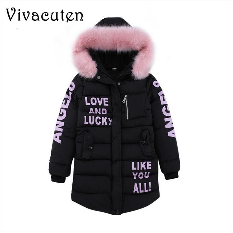 Collar de invierno de las muchachas pieles de grandes chaquetas con capucha de los niños a largo Sección engrosamiento Escudo niños forma Letters OutwearChildrens Adolescentes ropa de abrigo